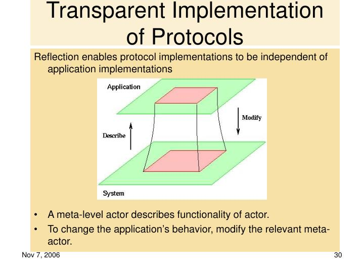 Transparent Implementation of Protocols
