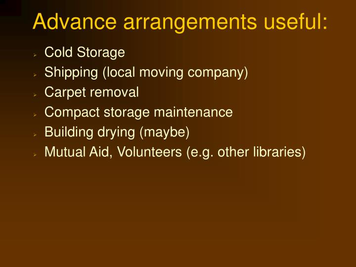 Advance arrangements useful: