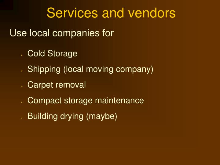 Services and vendors