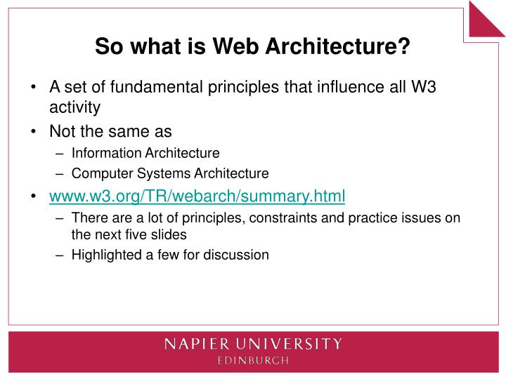 So what is Web Architecture?