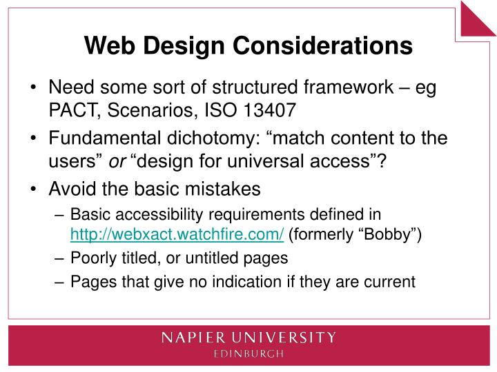 Web Design Considerations