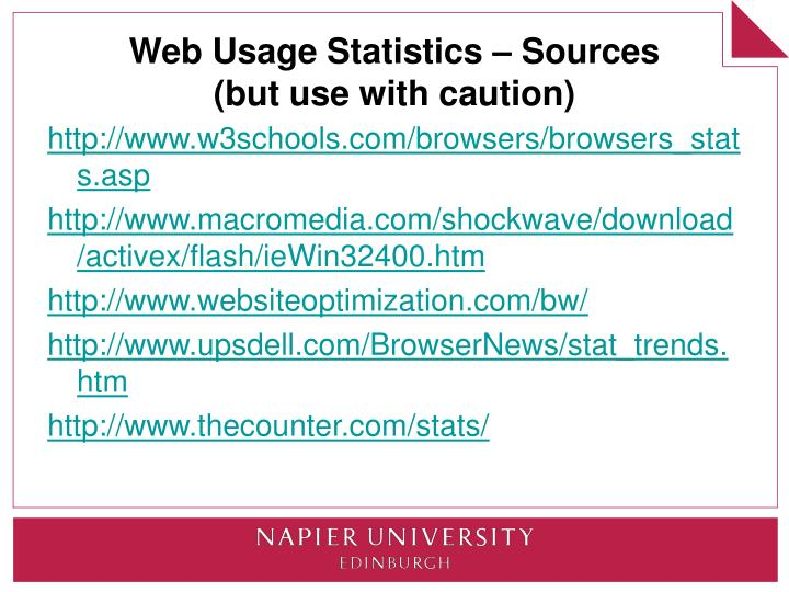 Web Usage Statistics – Sources