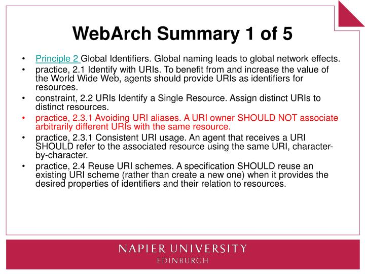 WebArch Summary 1 of 5