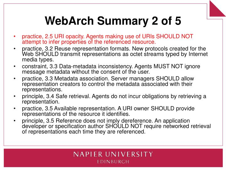 WebArch Summary 2 of 5