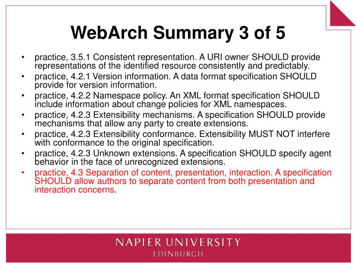 WebArch Summary 3 of 5