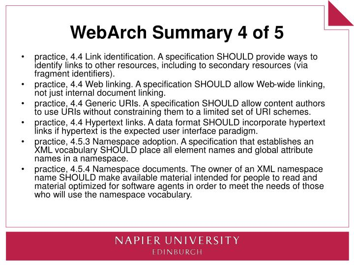 WebArch Summary 4 of 5