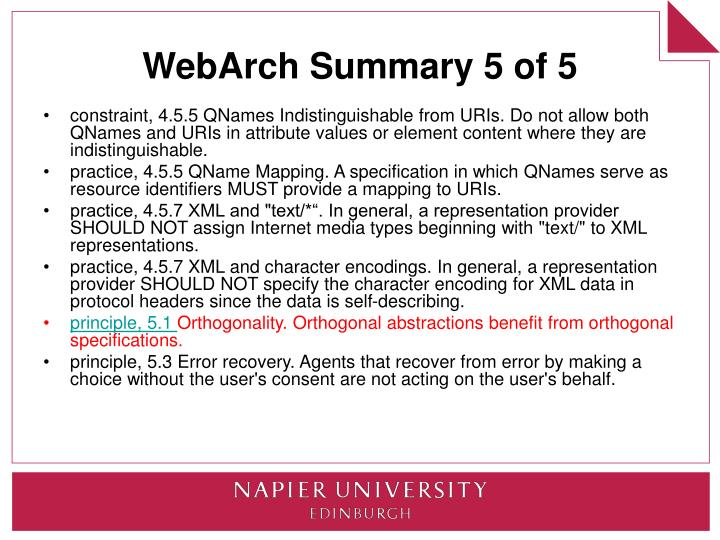 WebArch Summary 5 of 5