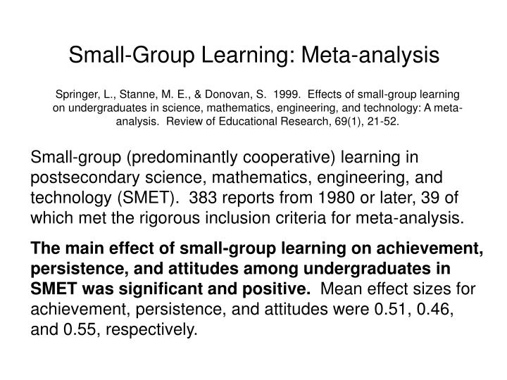 Small-Group Learning: Meta-analysis