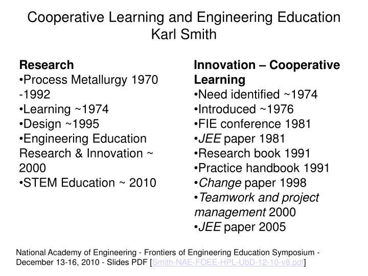 Cooperative Learning and Engineering Education Karl