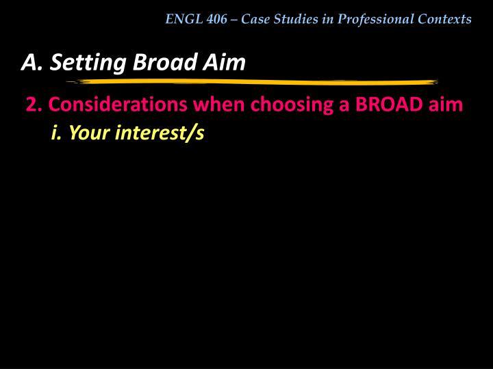 A. Setting Broad Aim