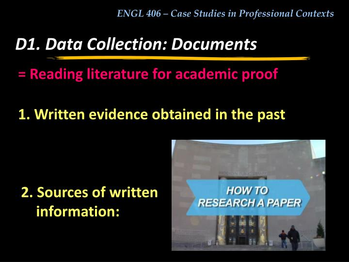 D1. Data Collection: Documents
