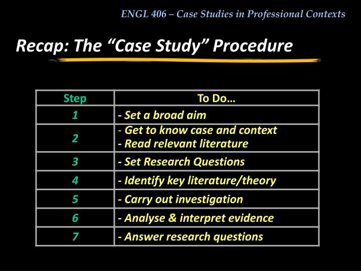 "Recap: The ""Case Study"" Procedure"