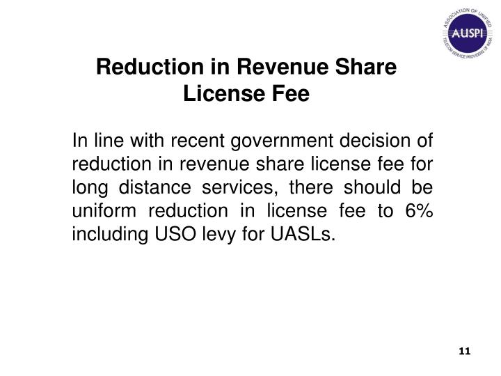 Reduction in Revenue Share License Fee