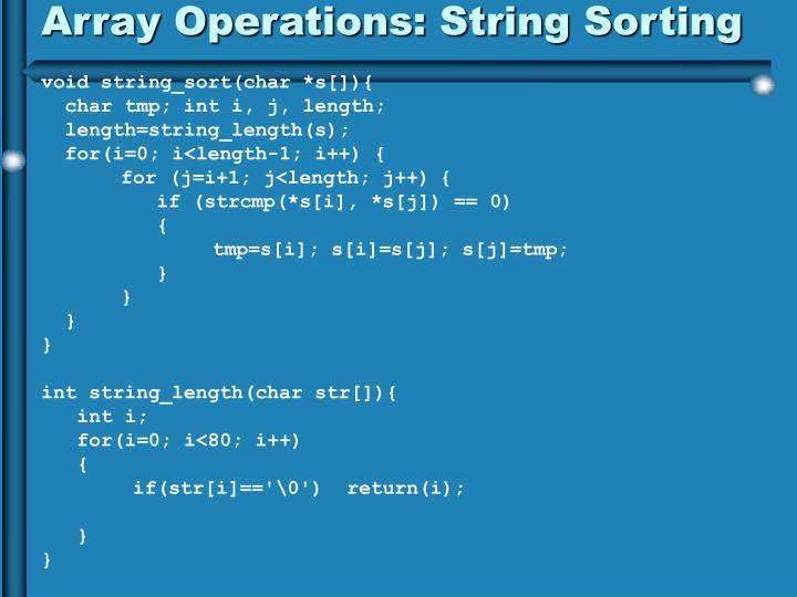 Array Operations: String Sorting