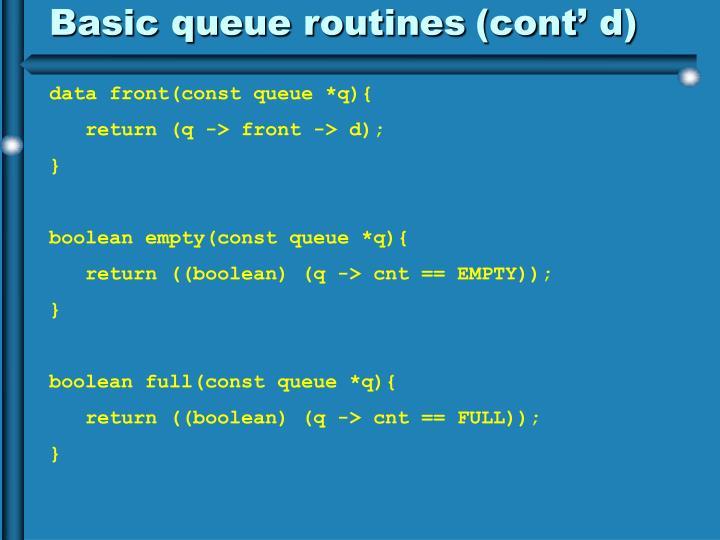 Basic queue routines