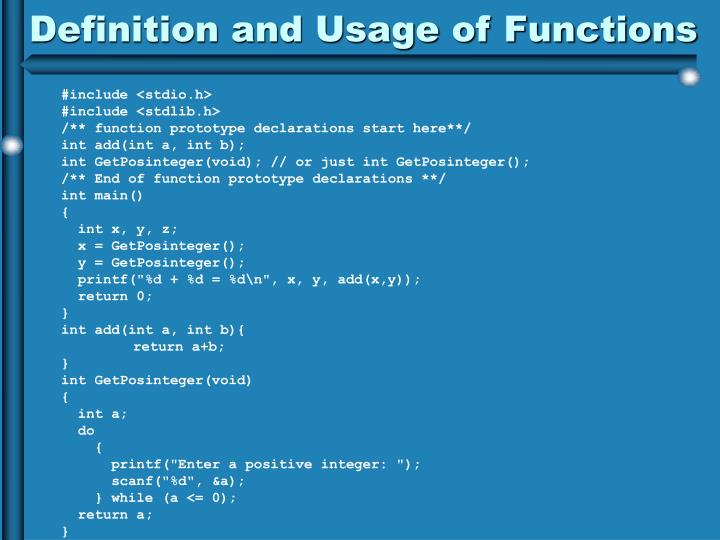 Definition and Usage of Functions