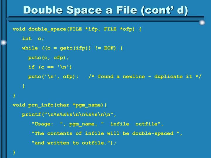 Double Space a File (cont' d)