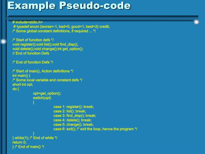 Example Pseudo-code
