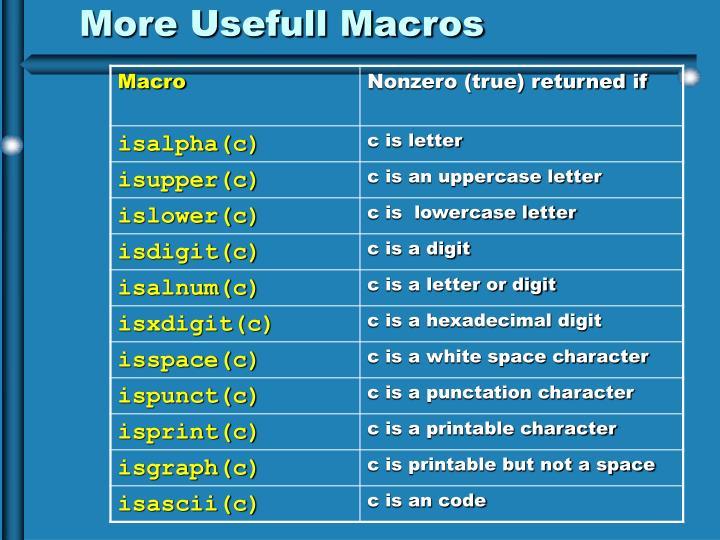 More Usefull Macros