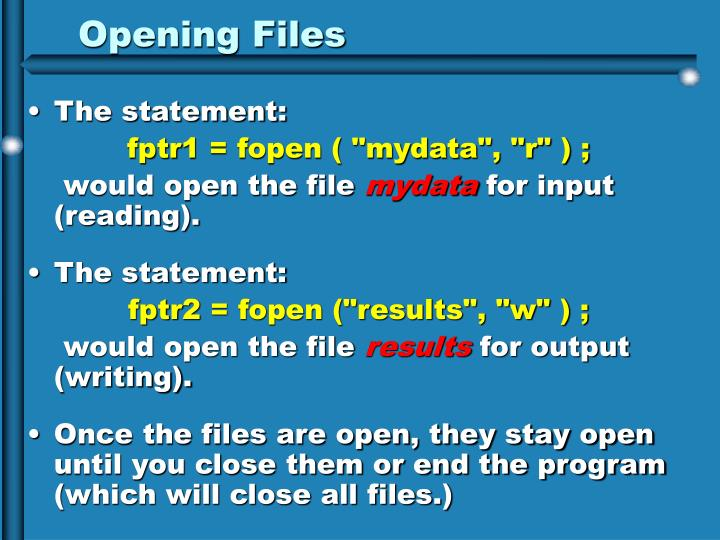 Opening Files