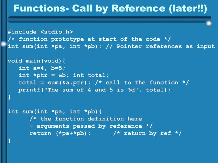 Functions- Call by Reference