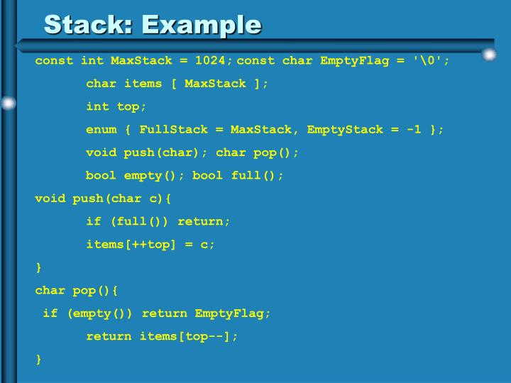 Stack: Example