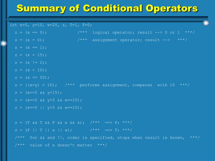 Summary of Conditional Operators