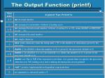 the output function printf