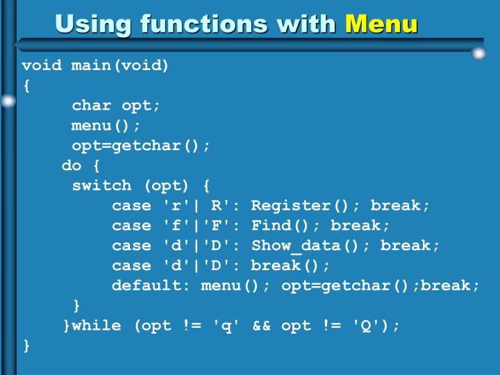 Using functions with