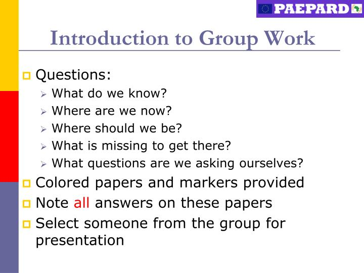 Introduction essay group work