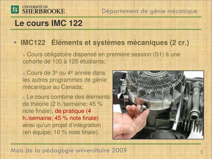 Le cours IMC 122