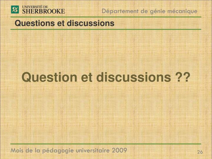 Questions et discussions