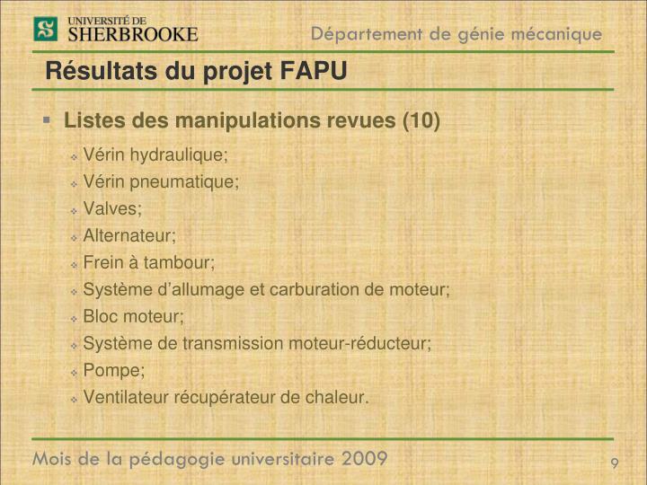 Résultats du projet FAPU