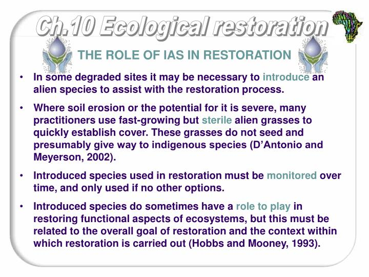 The role of IAS in restoration