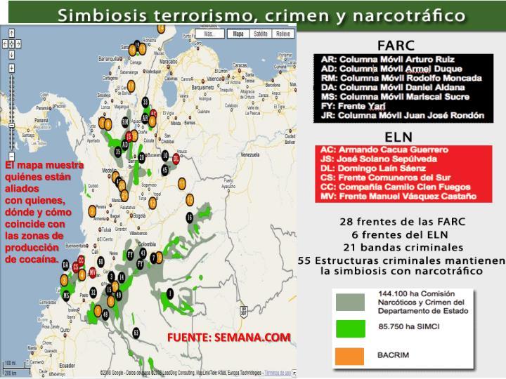 El mapa muestra