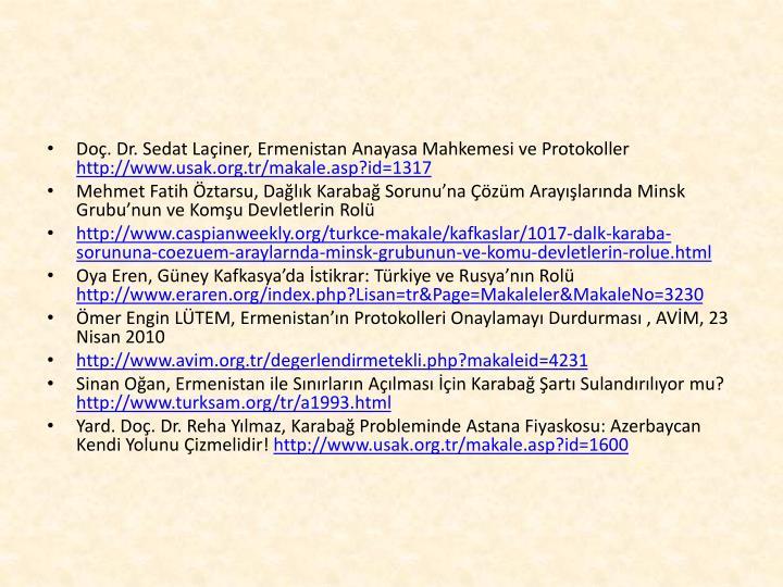 Doç. Dr. Sedat Laçiner, Ermenistan Anayasa Mahkemesi ve Protokoller