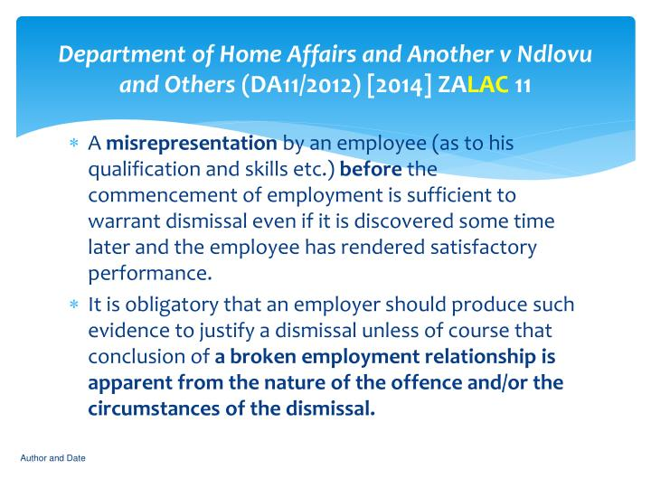 Department of Home Affairs and Another v Ndlovu and Others