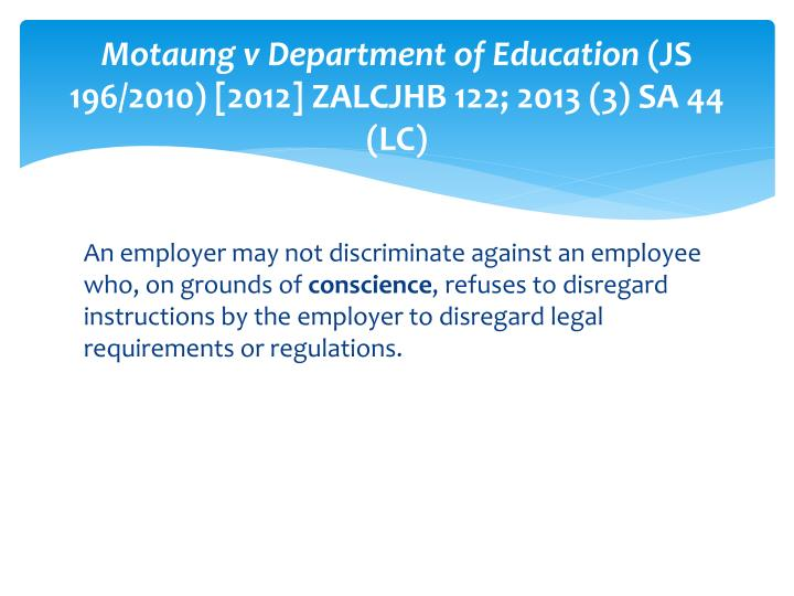 Motaung v Department of Education