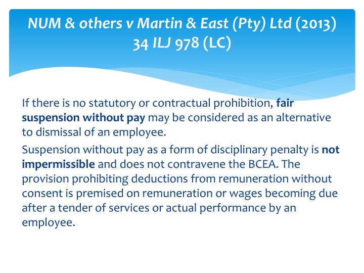 NUM & others v Martin & East (Pty) Ltd