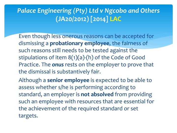Palace Engineering (Pty) Ltd v Ngcobo and Others