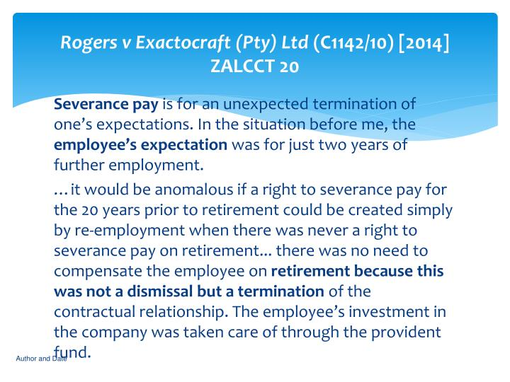 Rogers v Exactocraft (Pty) Ltd