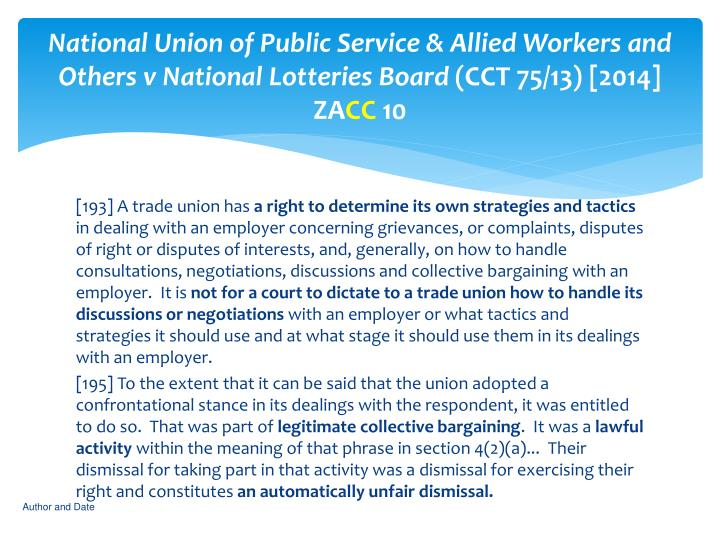 National Union of Public Service & Allied Workers and Others v National Lotteries Board