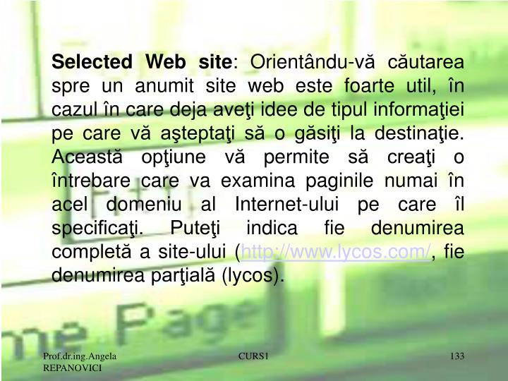 Selected Web site