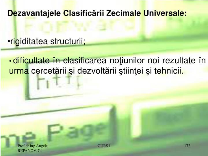 Dezavantajele Clasificării Zecimale Universale: