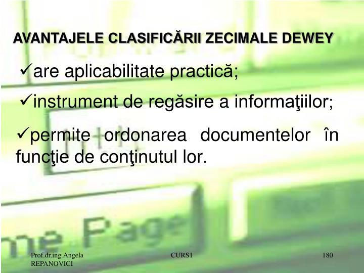 AVANTAJELE CLASIFICĂRII ZECIMALE DEWEY