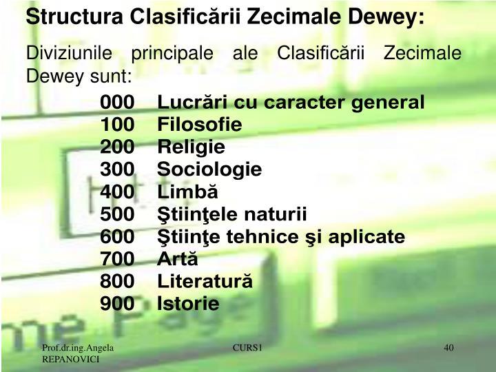 Structura Clasificării Zecimale Dewey: