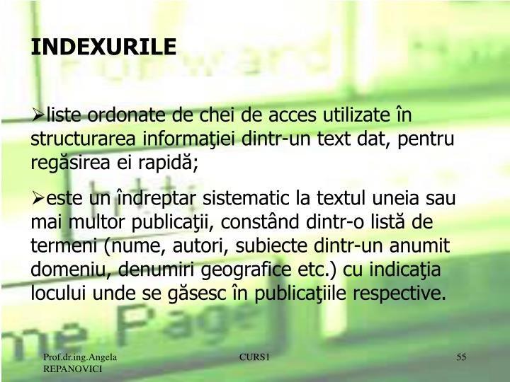 INDEXURILE