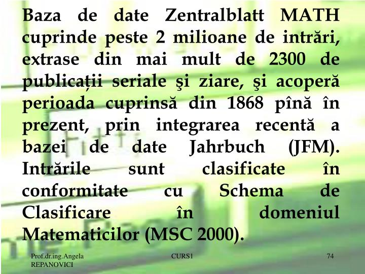 Baza de date Zentralblatt MATH cuprinde peste 2 milioane de intrări