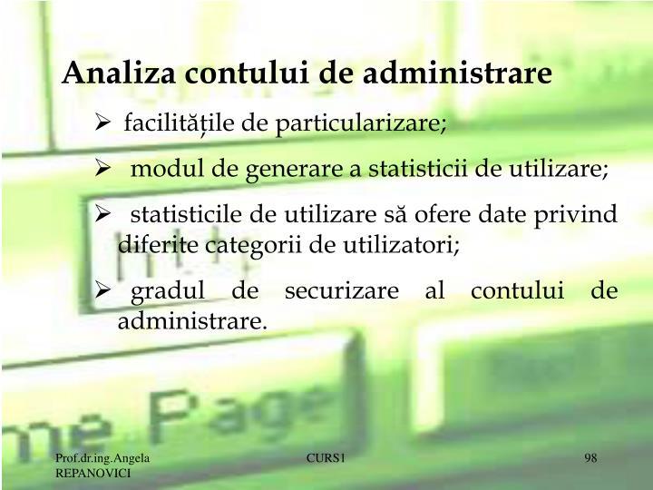 Analiza contului de administrare