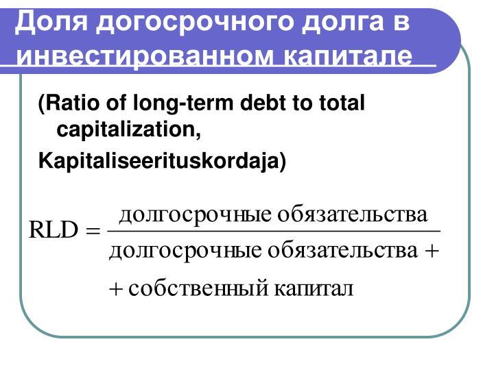 Доля догосрочного долга в инвестированном капитале